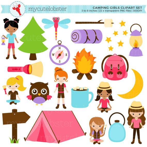Compass camping. Girls clipart set clip