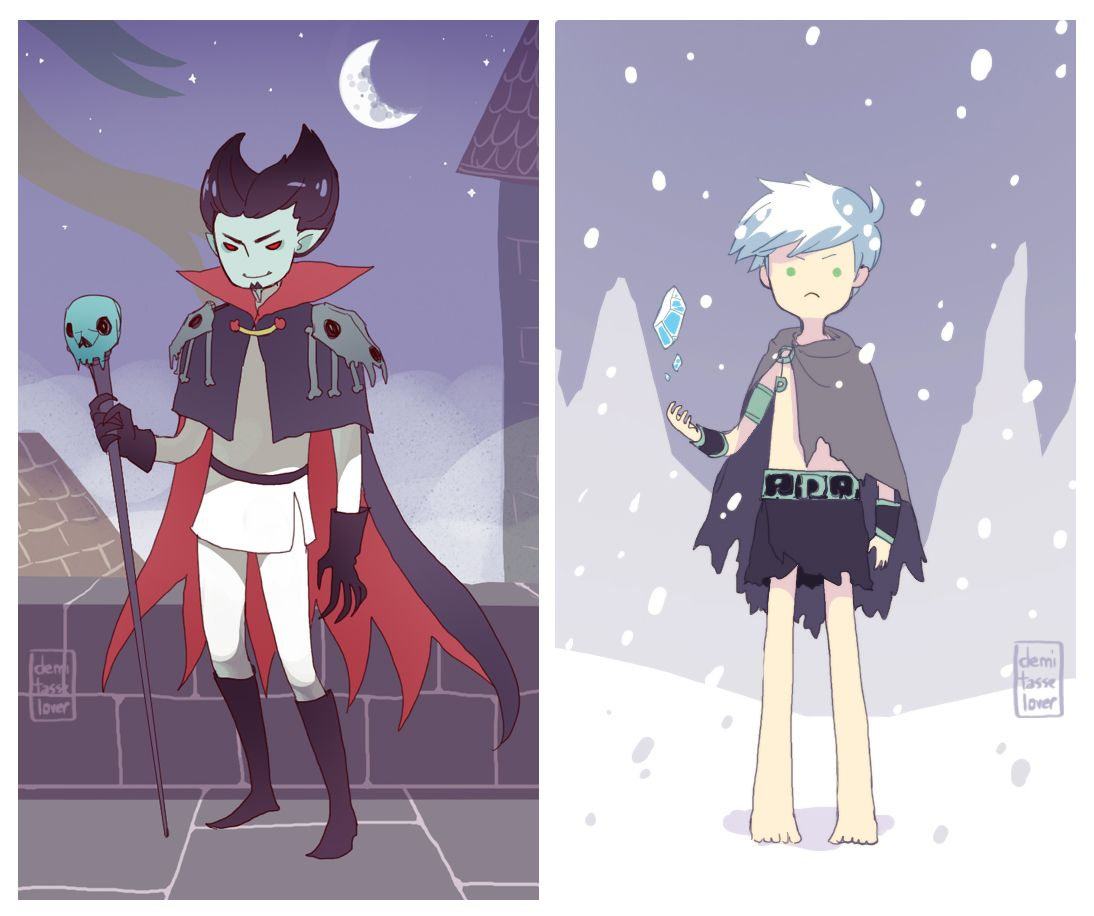 """""""Vlad and Danny in the land of Ooo because they survived the Mushroom War and they're immortal (in my headcanon.) So Danny seeks refuge in the land of the far frozen with the other yetis and Vlad associates himself with the goblins for some reason."""" ~demitasse-lover"""