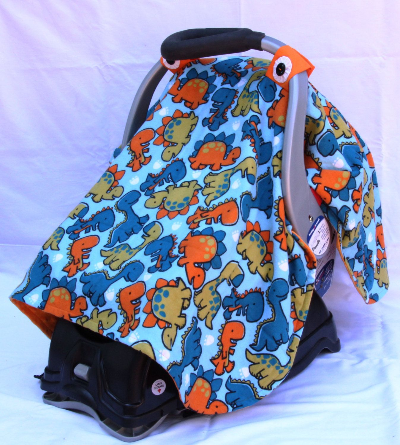Boys Baby Car Seat Cover with Dinosaurs All Over, Baby Shower Gift