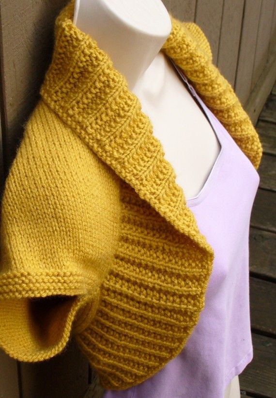 Mustard Yellow Knit Shrug-Medium mustard yellow bolero shrug knitted ...