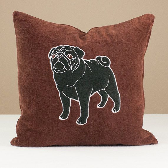 Dog Pillow Pug Black Applique On Chocolate Brown By Ladymaggies