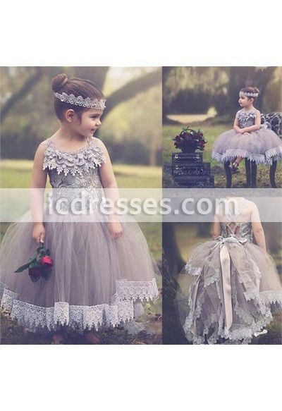 2a25b8f8c84 Lavender+Lace+Vintage+Flower+Girl+Dresses+Kids+Prom+Dress+Tulle+Communion+ Girls+Pageant+Ball+Gowns+Children+Wears+For+Weddings