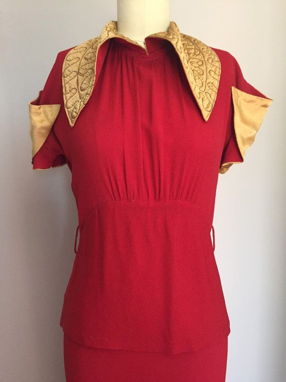 1930s Red Crepe Gown with Gold Satin Accents by