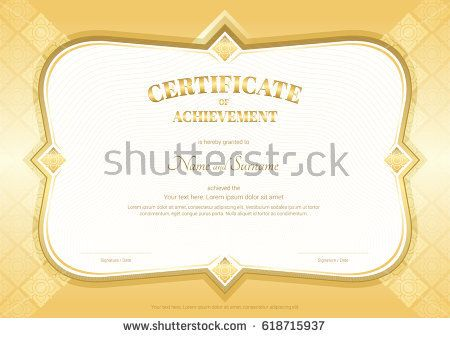 Certificate of achievement template in vector with applied Thai art ...