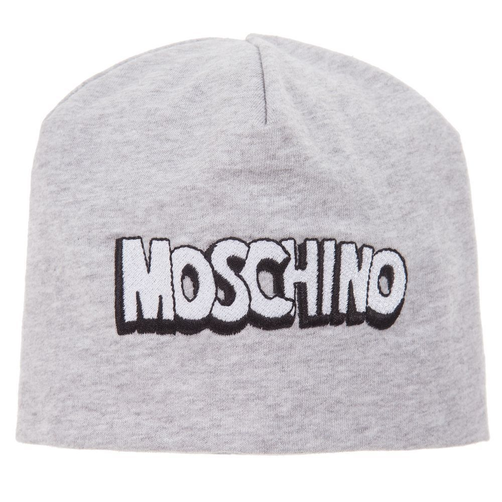 9026c022f9925 Hats 57884  Nwt New Moschino Kids Baby Boys Gray Logo Beanie Hat Size Iii  -  BUY IT NOW ONLY   35 on eBay!