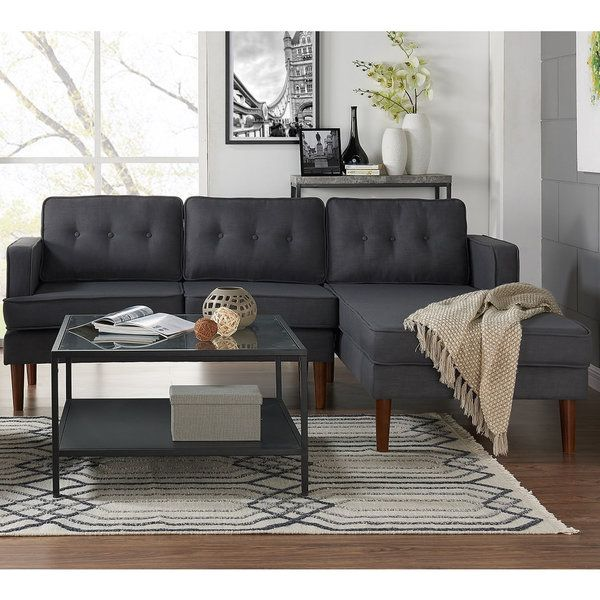 DG Casa Danbury Mid Century Grey Sectional Sofa (Sectional)