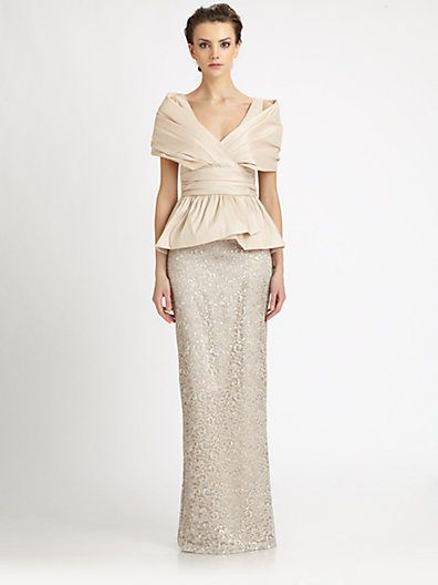 Mother Of The Bride Badgley Mischka Taffetalace Peplum Gown
