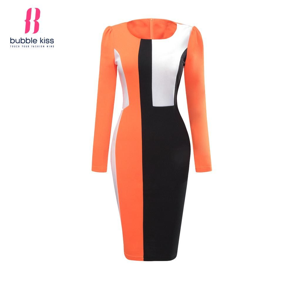Womens patchwork bodycon long sleeve autumn winter slim dress products