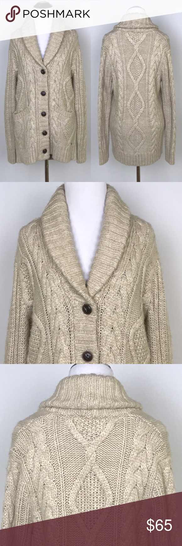 Denim & Supply] Boyfriend Cable Knit Cardigan Tan Chunky knit ...