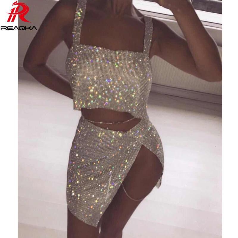 028c45d49d Metal Chain Crystal Diamonds Sequins Dress Two Pieces Novelty Split ...