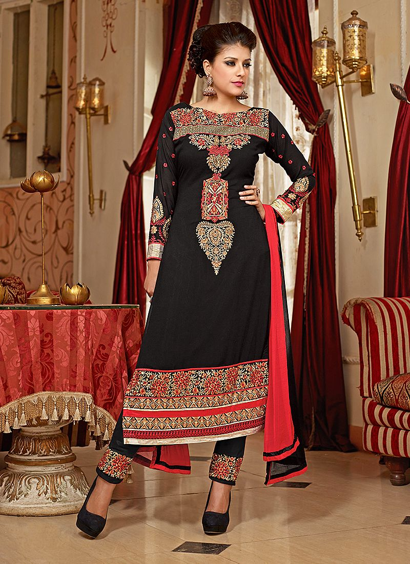 Black resham border work churidar salwar suit product code