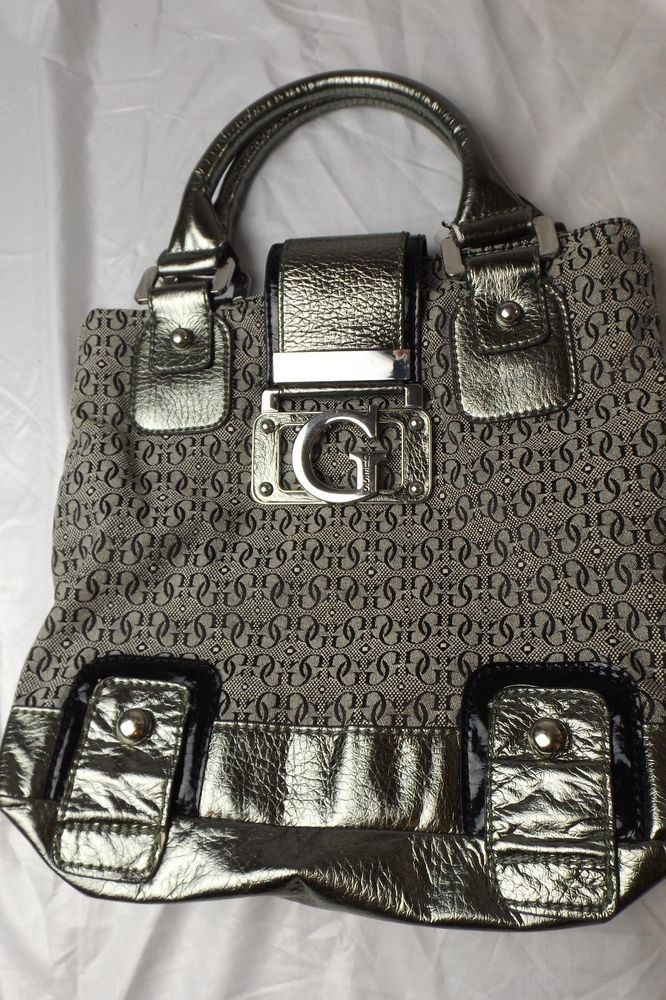 d785a03fd Guess Handbag Satchel Black & Gray Canvas with Silver Faux Leather and  Hardware #Guess #Satchel