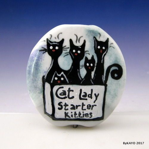 """CAT LADY STARTER KITTIES"" byKAYO a Handmade CAT Lampwork  Glass Focal Bead SRA #Lampwork"