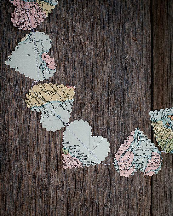 Wedding decoration vintage paper hearts garland world map travel items similar to wedding decorations romantic hearts garland world map or travel theme pastel colours on etsy gumiabroncs Images