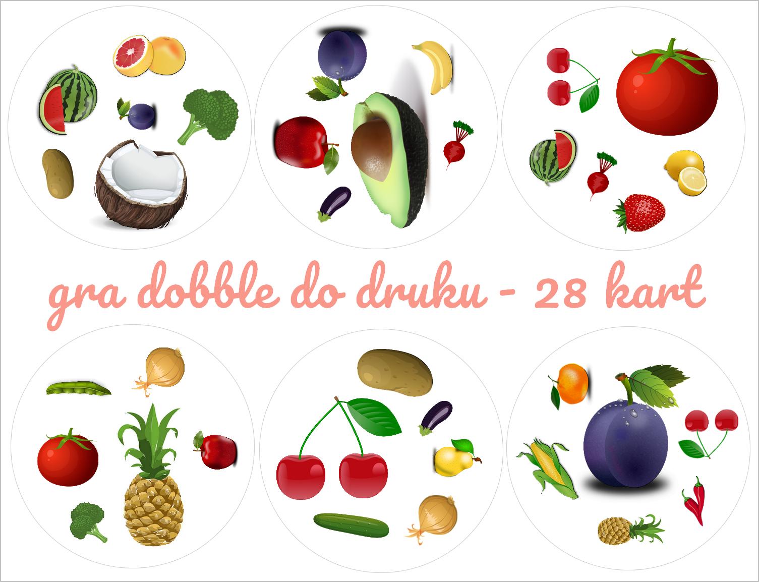 Zainspirujmy Sie Materialy I Inspiracje Do Pracy Z Dziecmi Czesc Do Druku Gra Dobble Owoce I Warzywa Education Food