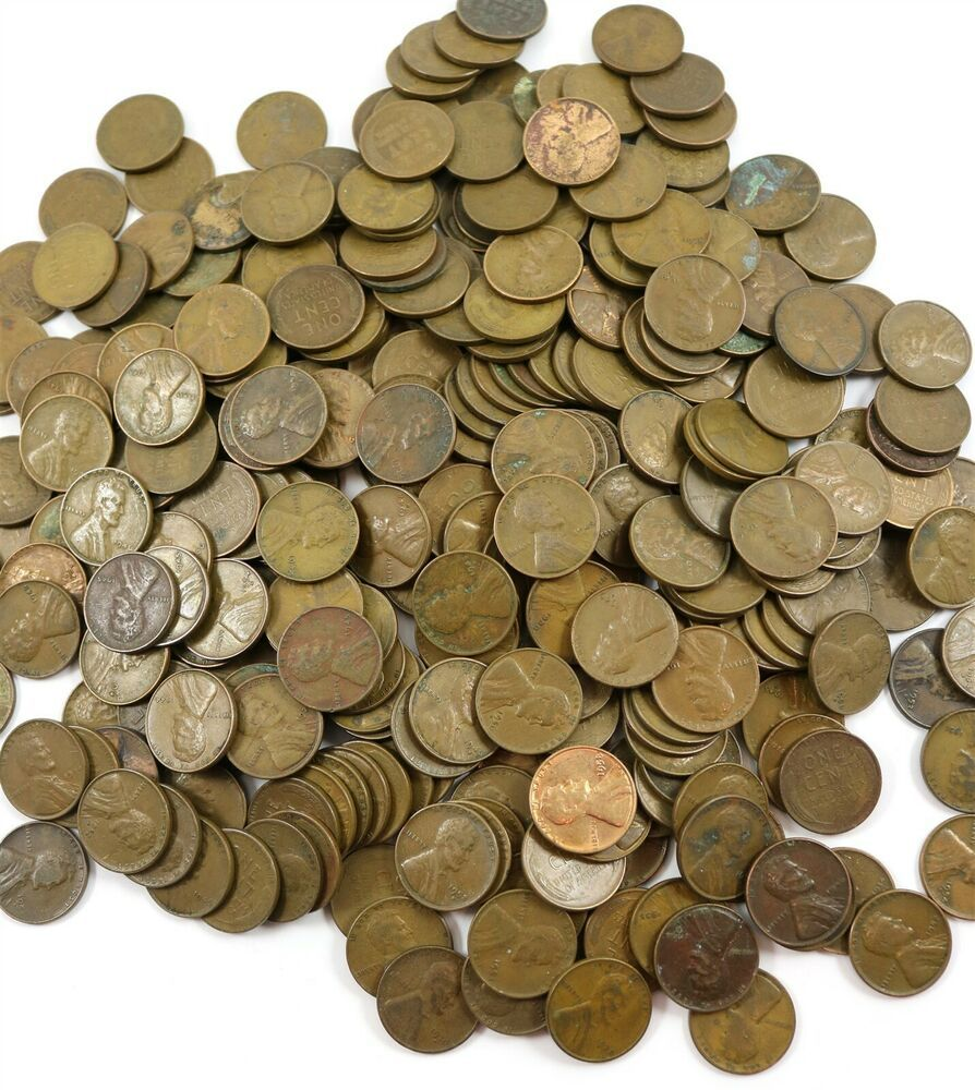 Two Pounds 2 Lbs  Lincoln Wheat Pennies One Cent Coins Assorted