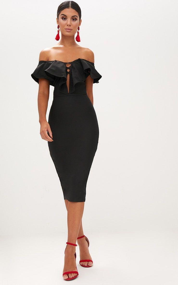 Black bardot frill detail bodycon dress outlet near english