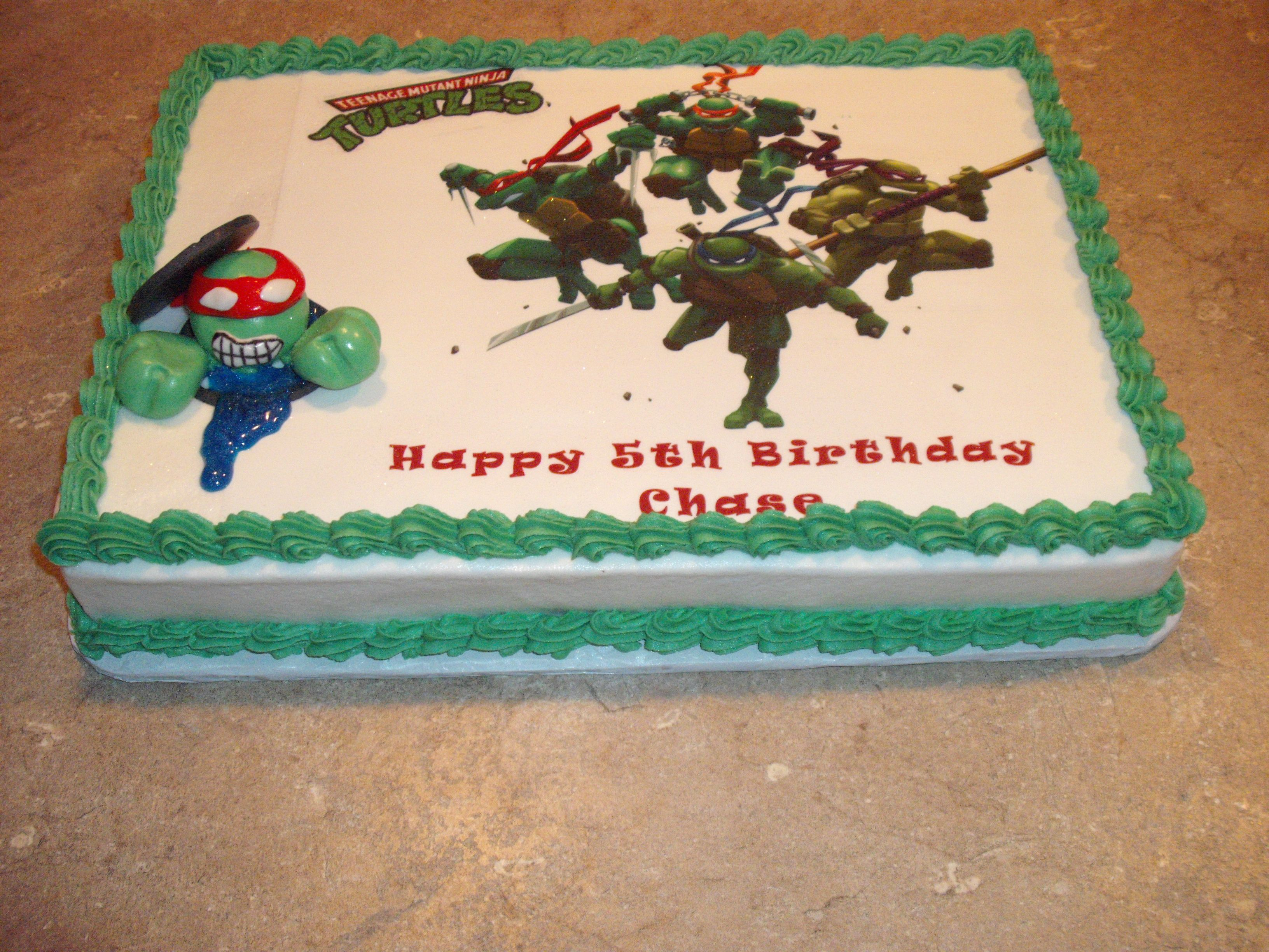 Teenage Mutant Ninja Turtles Cake with Raphael coming out of the