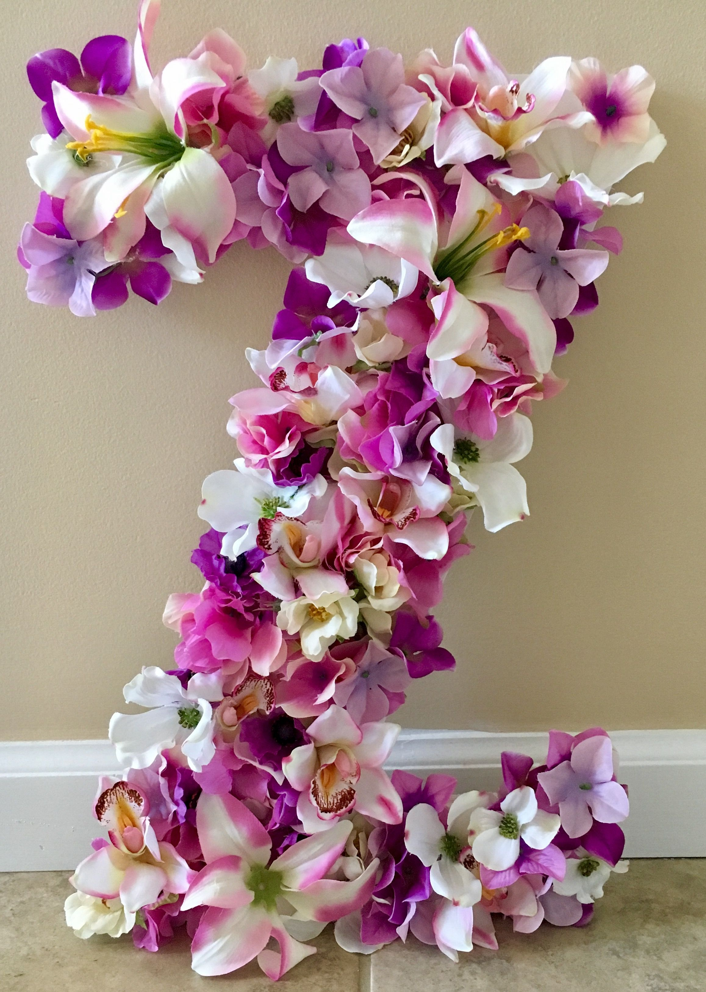Wooden 18 Inch Letter Z From Hobby Lobby Hot Glued Silk Flowers For