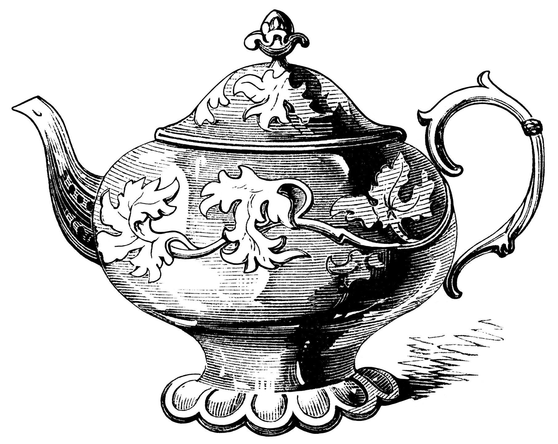 Victorian Tea Pot Illustration Vintage Teapot Clipart