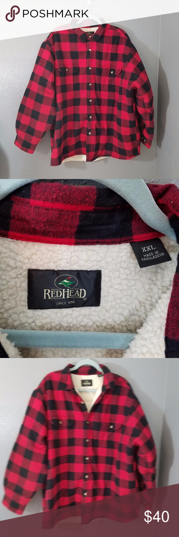 Flannel jacket with wool lining  RedHead Lined Flannel XXL Red Black Buffalo Check RedHead Lined