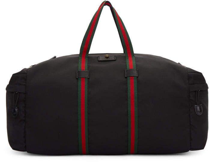 6cf2cbbc53c Gucci Black Technical Canvas Duffle Bag