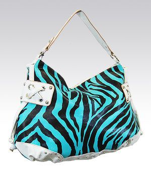 Turquoise Zebra Print Bag