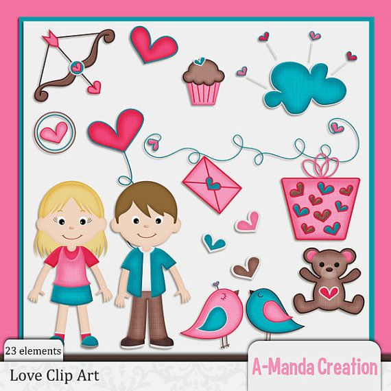 Love and Valentine's Day themed Clip Art set