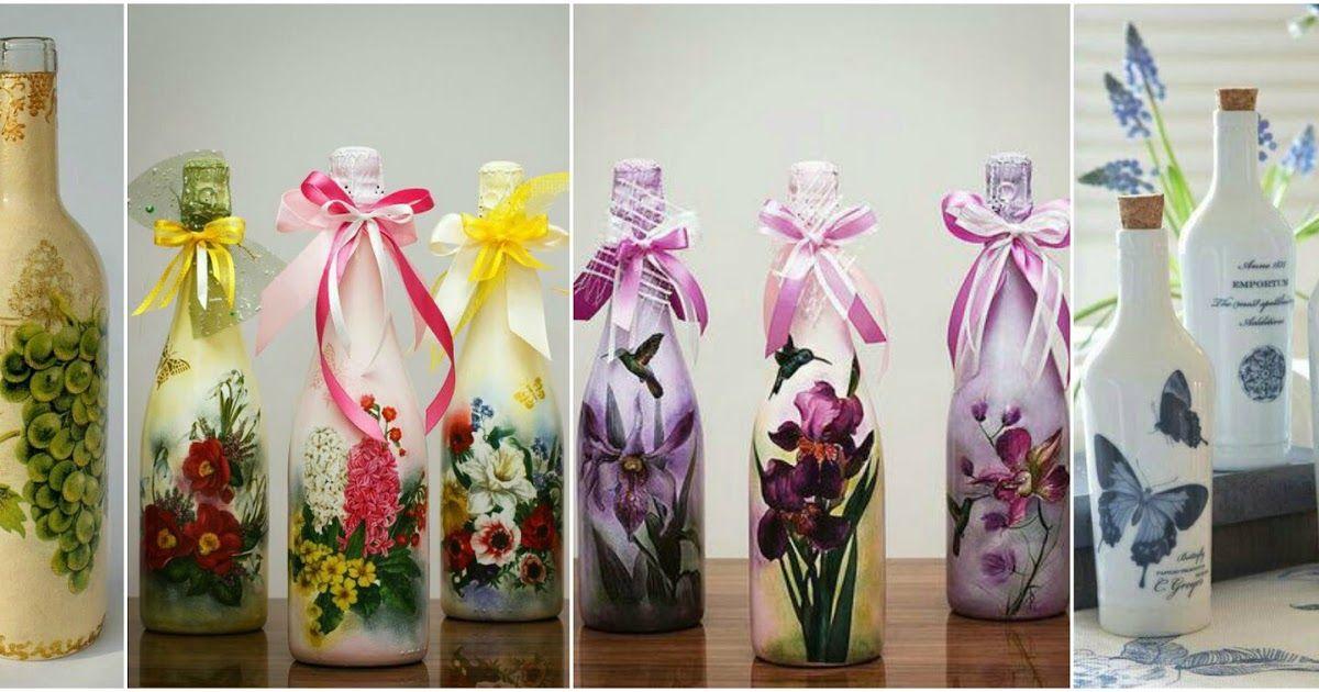 Decora Y Recicla Tus Botellas De Vidrio Con Servilletas De Decoupage Botellas De Vidrio Ideas Botellas De Vidrio Decoración De Botellas