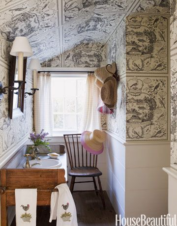 Walls covered in an aviary-patterned toile. Designer: Tom Scheerer. Photo: Francesco Lagnese. housebeautiful.com