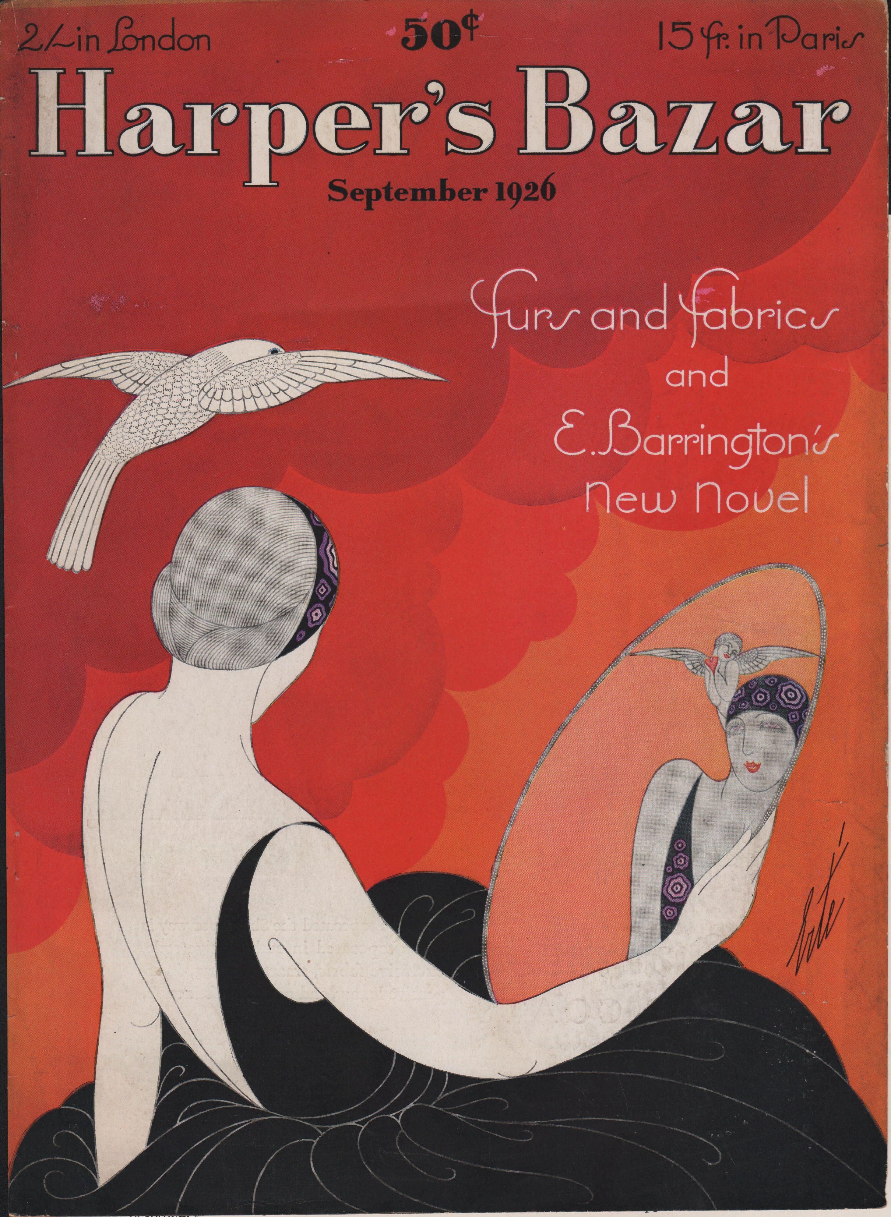 Harpers Bazar Bazaar Magazine Cover September 1926 Erte Romain De Tirtoff