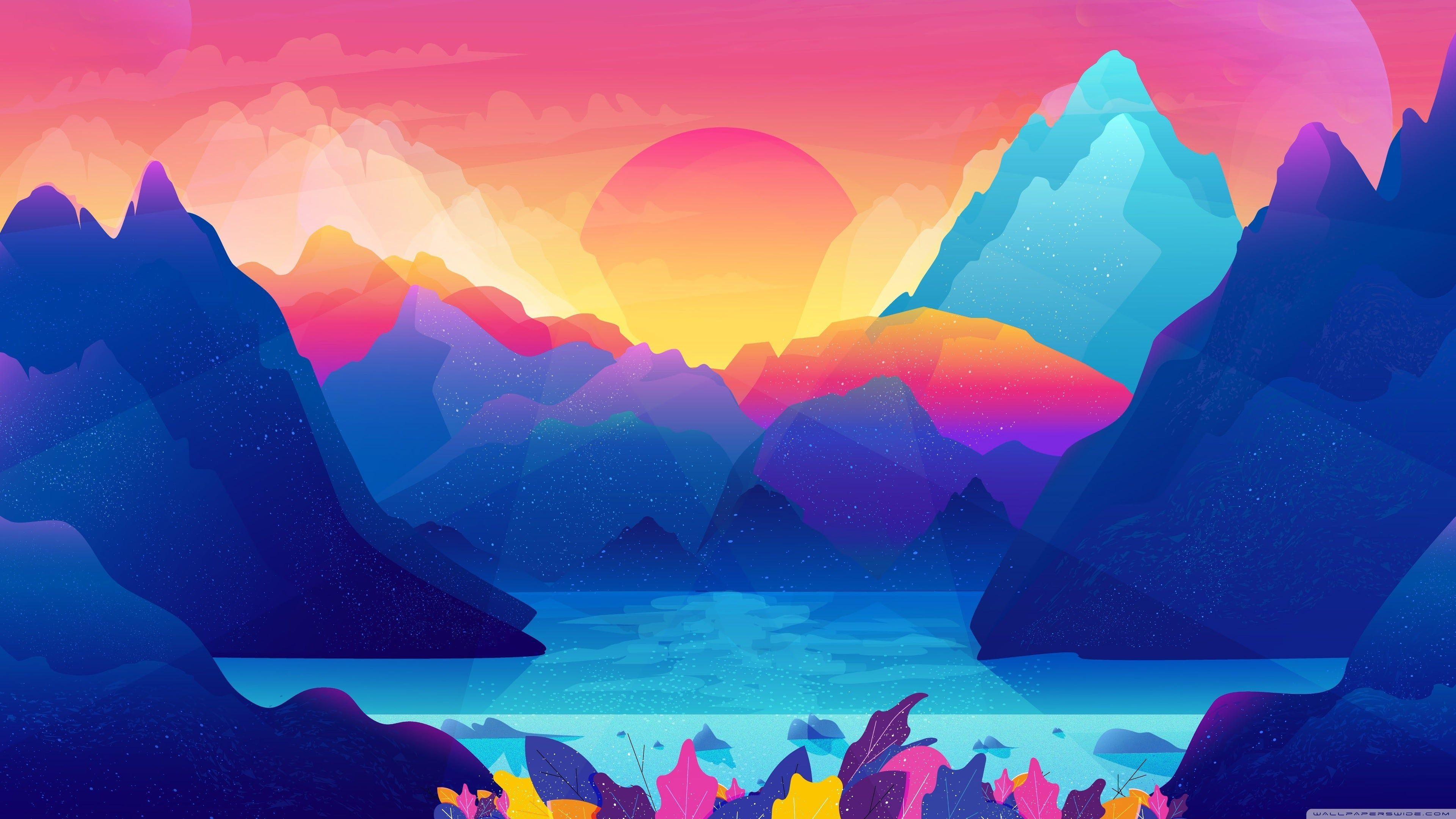 Animated Colorful Landscape 4k Wallpaper In 2020 Art Wallpaper Colorful Landscape Landscape Illustration