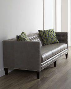 Massoud Dove Leather Sofa. horchow.