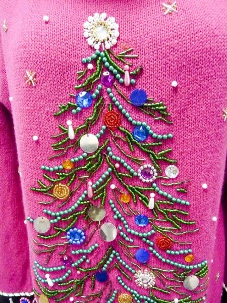 shopgoodwillcom fabulous magenta pink ugly christmas sweater sm - Pink Ugly Christmas Sweater