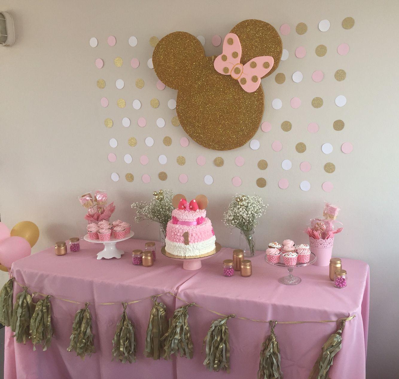 Resultado de imagen para cumplea os minnie rosa y dorado - Decoracion cumpleanos bebe 1 ano ...