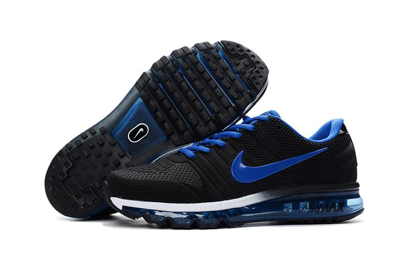 huge selection of 19d4c d5c94 Cheap Nike Air Max 2017 Leather Black Blue White Shoes | Air max men ...
