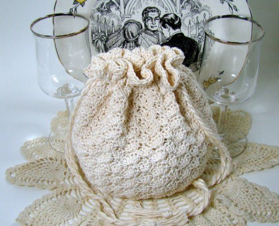 Crochet Drawstring Evening Bag, Bridal Wedding Keepsake Pouch ...
