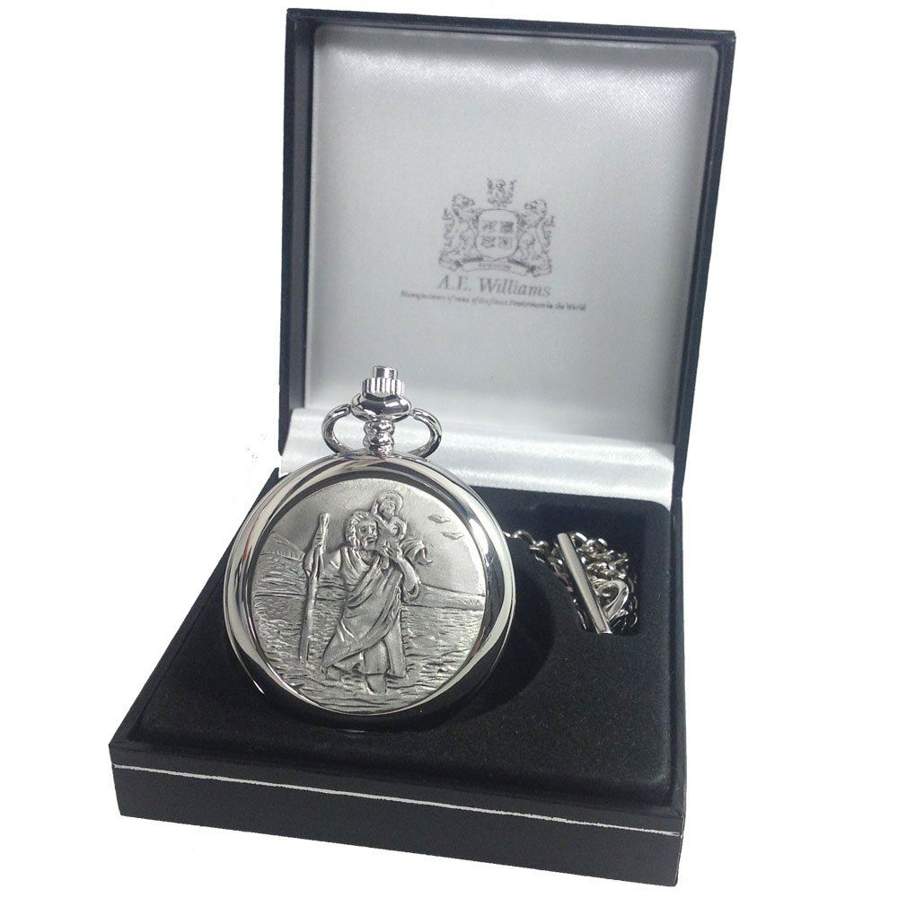 boy's christening gift, engraved st christopher pocket watch in a