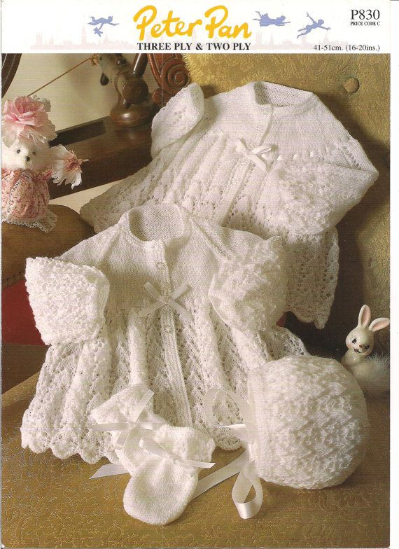 6ee57b9de Peter Pan Jacket Bonnet Mitts 3 ply   2 ply Baby Knitting Pattern ...