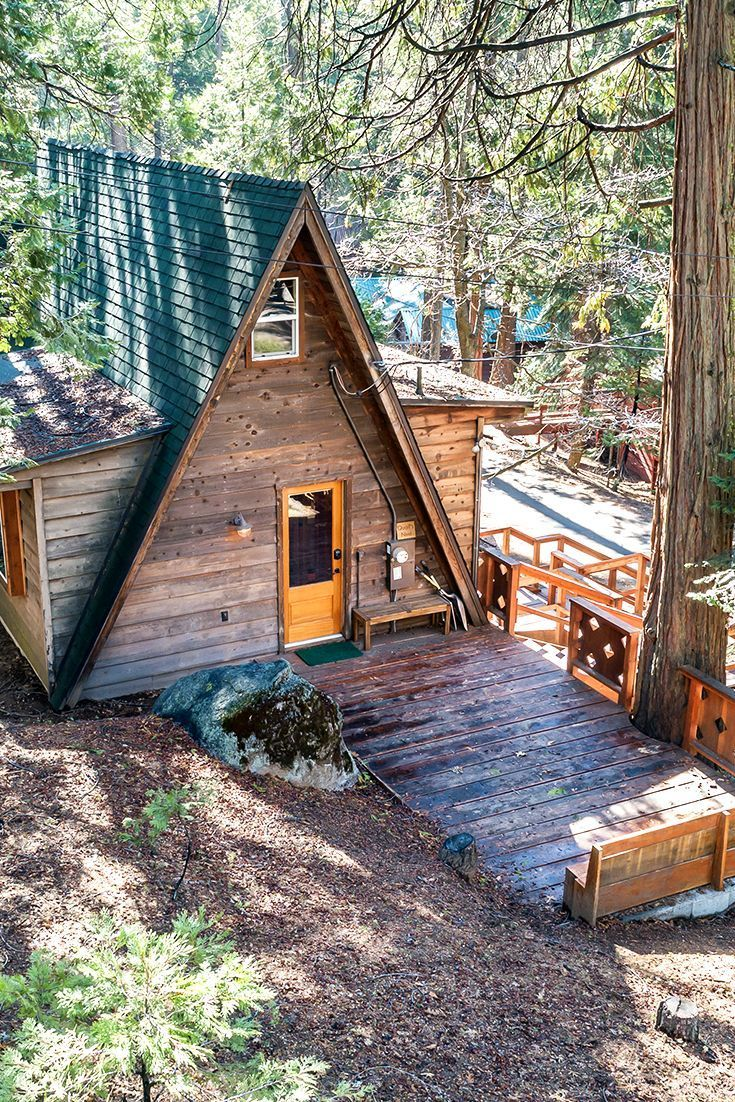 Rustic A Frame Cabin In The Woods Near Downtown Shaver Lake California Log Homes And Get Aways In 2019 House In The Woods A Frame Cabin Cabins In The Woods