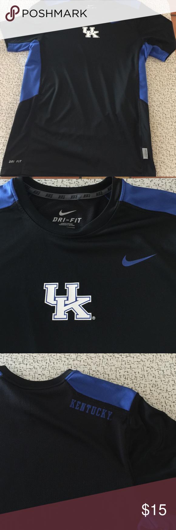 a89cb93b2 Nike Dri-Fit U of Kentucky shirt Black w blue. UK on front ...