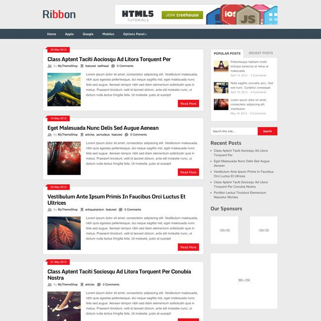 Ribbon Responsive Magazine Free WordPress Theme | Free WordPress ...