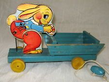 Vintage Early 1941 FISHER PRICE Easter Bunny Rabbit Wood Wooden Pull Toy #466