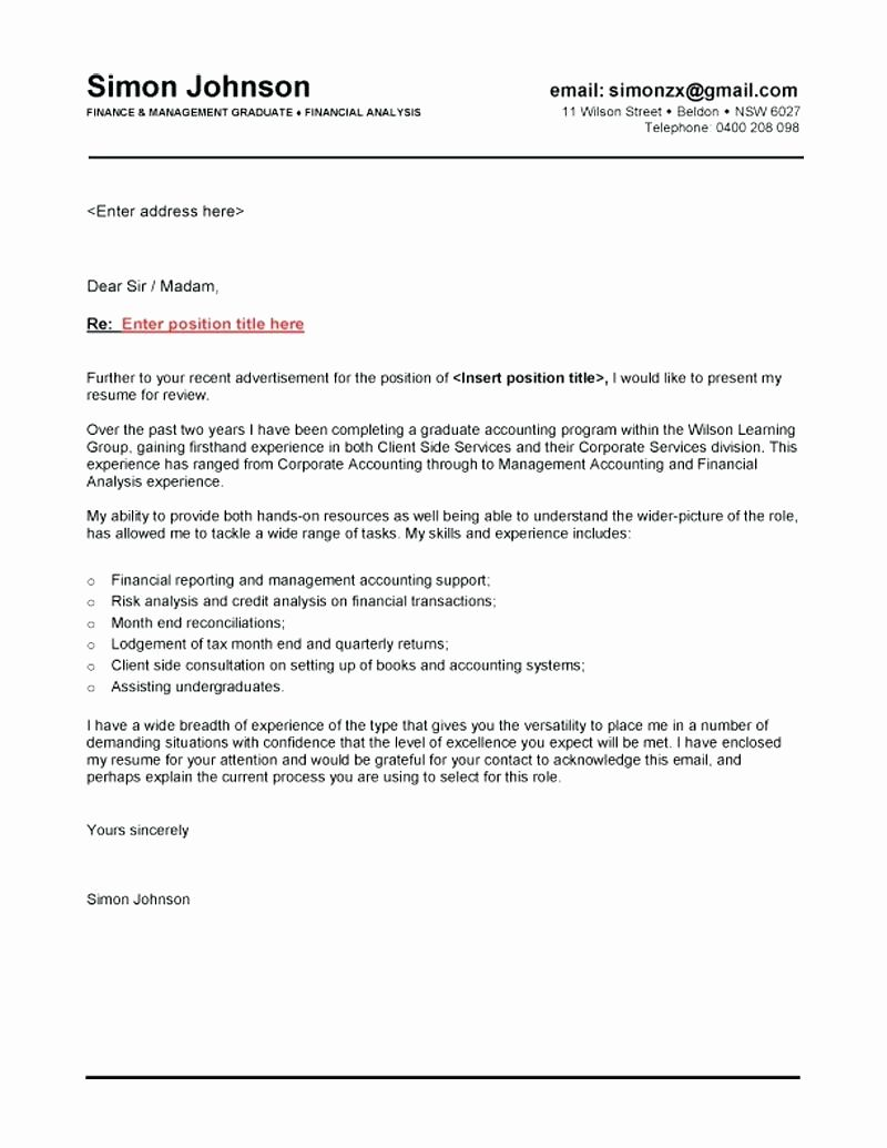 Cover Letter Template Graduate Cover letter for resume
