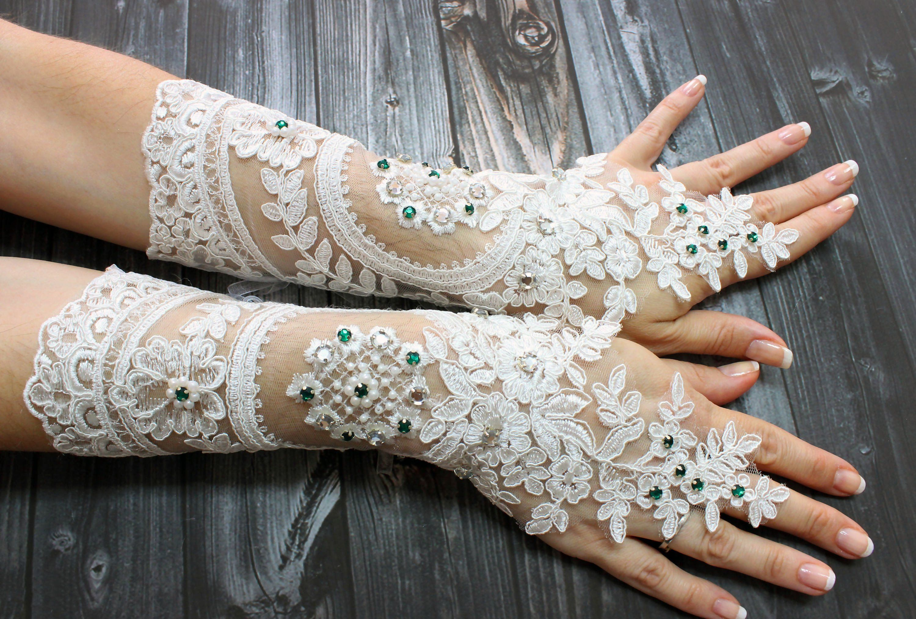Choose style Fingerless Bridal White Satin Long Gloves with lace and beads