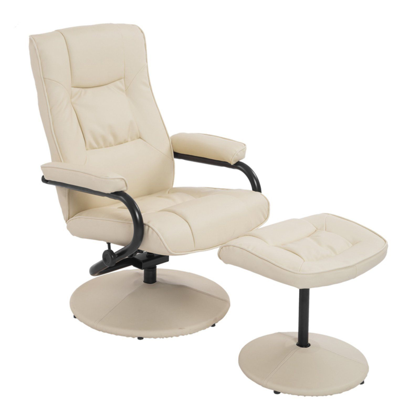 Excellent Homcom 2 Piece Faux Leather Recliner And Ottoman Set Cream Unemploymentrelief Wooden Chair Designs For Living Room Unemploymentrelieforg