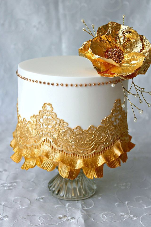 White, Gold Lace & Flower Cake