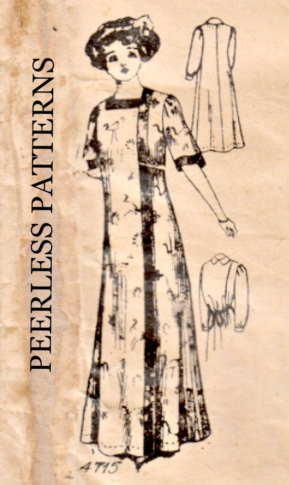 Vintage 1910 Ladies Kimono Robe Peerless Sewing Pattern 4715 Bust 36 ...
