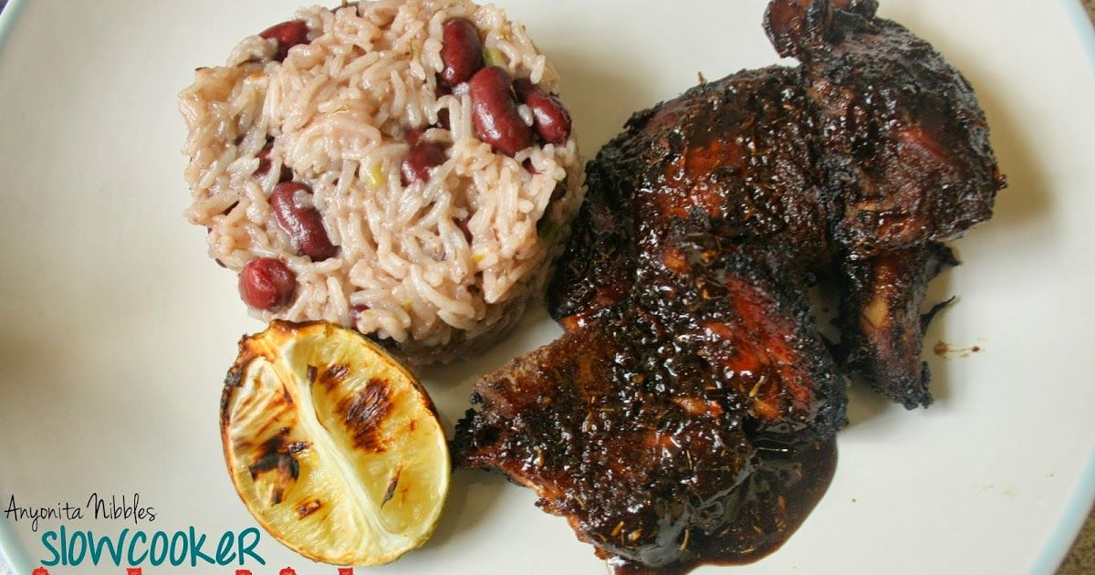 slow cooker jerk chicken rice and peas and roasted lime