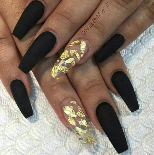 Black Gold Nail Ideas Gold Acrylic Nails Gold Nails Black